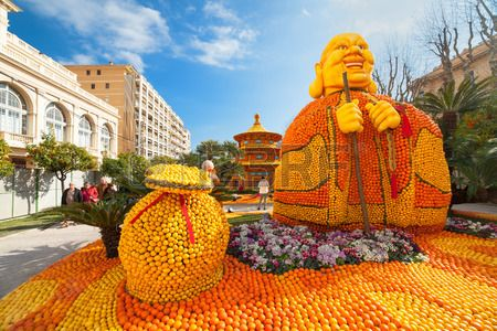 Lemon Festival (Fete du Citron) on the French Riviera.The theme for 2015: Tribulations of a Lemon in China. Menton, France - February 20, 2015