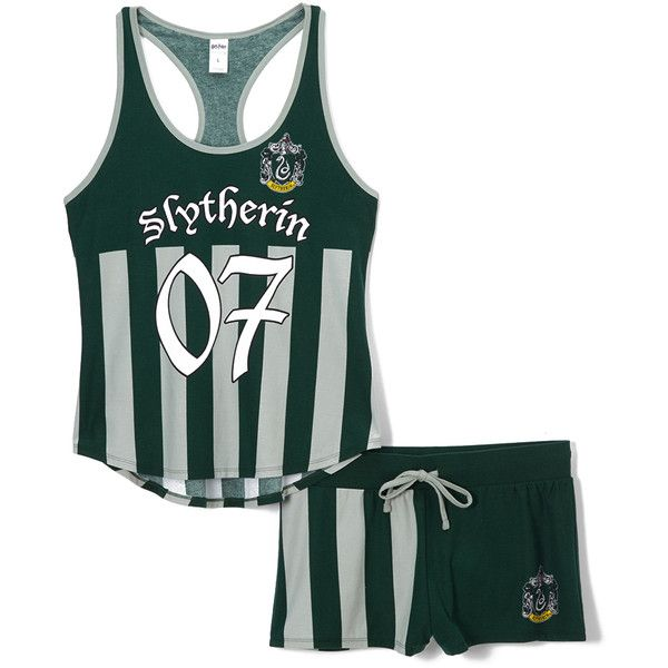 d5c7a913a793 Underboss Harry Potter Slytherin Quidditch Pajama Top & Shorts ($25) ❤ liked  on Polyvore featuring intimates, sleepwear, pajamas, pyjama tops, ...