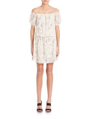 Alice And Olivia Silk Embroidery Dress In Cream Modesens Embroidery Dress Dresses Silk Embroidery