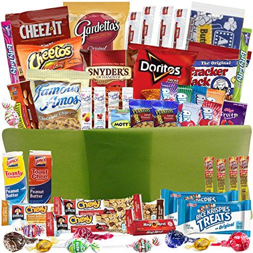 Authentic Care Package Gift Baskets With 52 Sweet And Salty Snacks