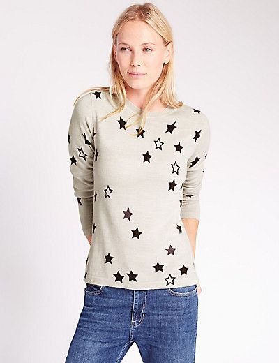 Star Print Crew Neck Jumper