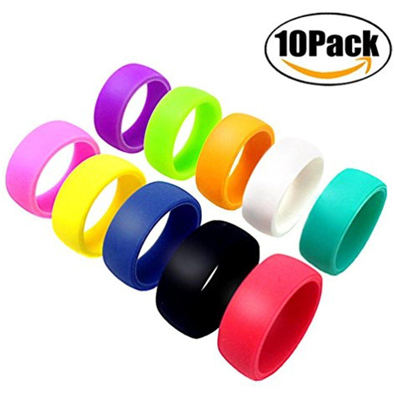 Threebulls 10 Pack Wedding Band Pack For Men Women Flexible Comfort Sport Love Ring Silicone Wedding Ring Birth Silicone Wedding Rings Birthday Ring Love Ring