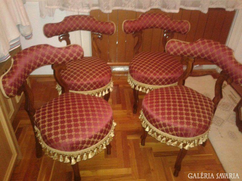 Eladó 4 db jelzett voyeuse chair, neo rokokó szék 1871
