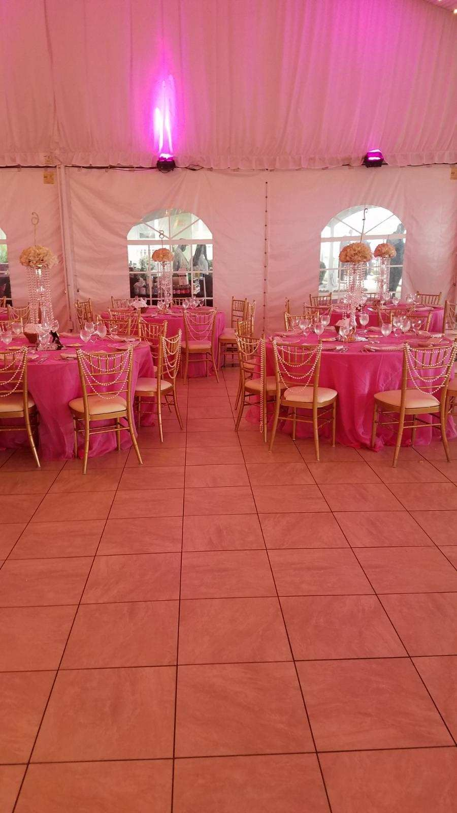Pearl chair backs, half flowers balls and gold centerpieces | Chairs ...