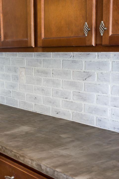 Diy Whitewashed Faux Brick Backsplash Remodelaholic
