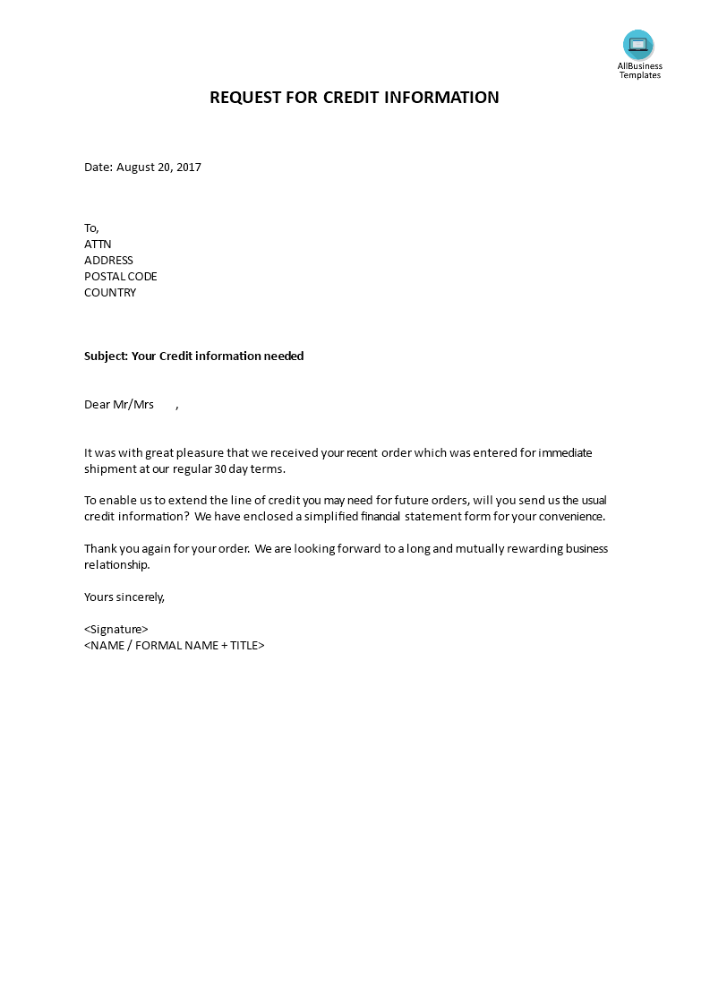 Request For Credit Information How To Write A Request For Credit Information Download This Letter Requesting Credit Info Templates Business Template Request