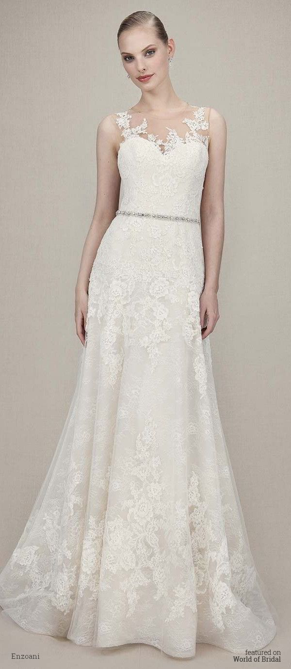 Enzoani wedding dresses chantilly lace tulle gown and