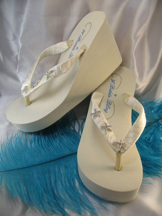 Ivory Wedge Bridal Flip Flops Shoes Rhinestone Starfish Design Beach Wedding