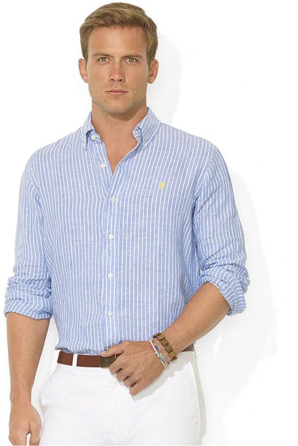 c1494d9f2be414 White and Blue Vertical Striped Dress Shirt by Polo Ralph Lauren. Buy for   69 from Macy s