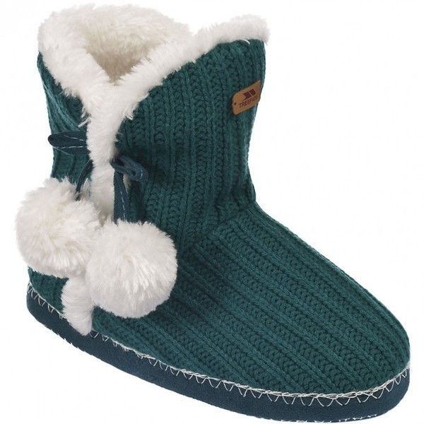 Trespass Womens/Ladies Camille Knitted Boot Slippers ($16) ❤ liked on Polyvore featuring shoes and slippers