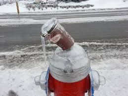 Frozen Tim's cup on fire hydrant