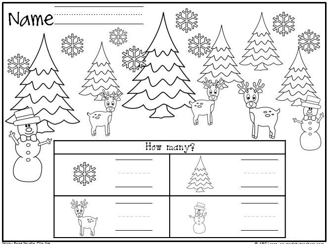 winter or christmas math worksheet freebie  students count the objects and write the numbers