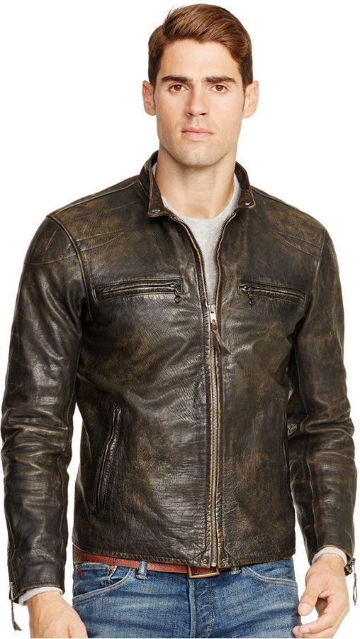 Polo Ralph Lauren Distressed Leather Jacket  3ce2ff5b55fb7