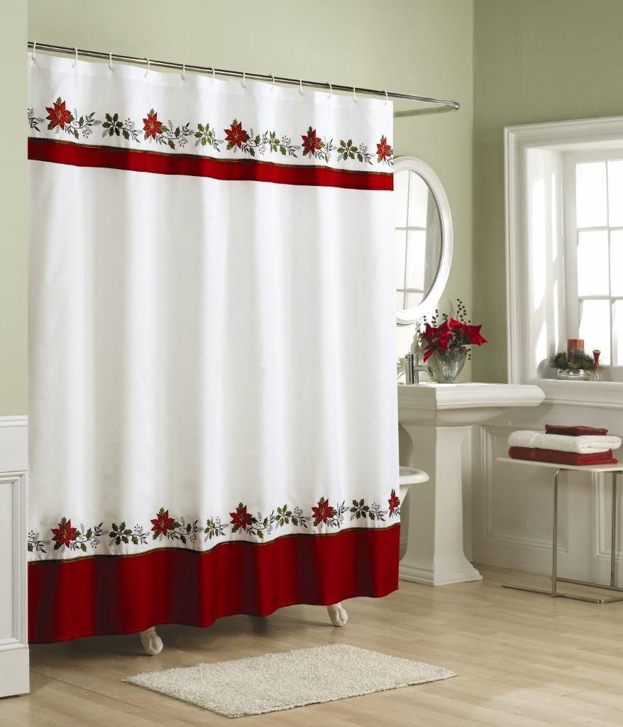 Holly Embroidered Country Christmas Fabric Shower Curtain This Luxurious Ensemble Is With Rows Of Red And Green