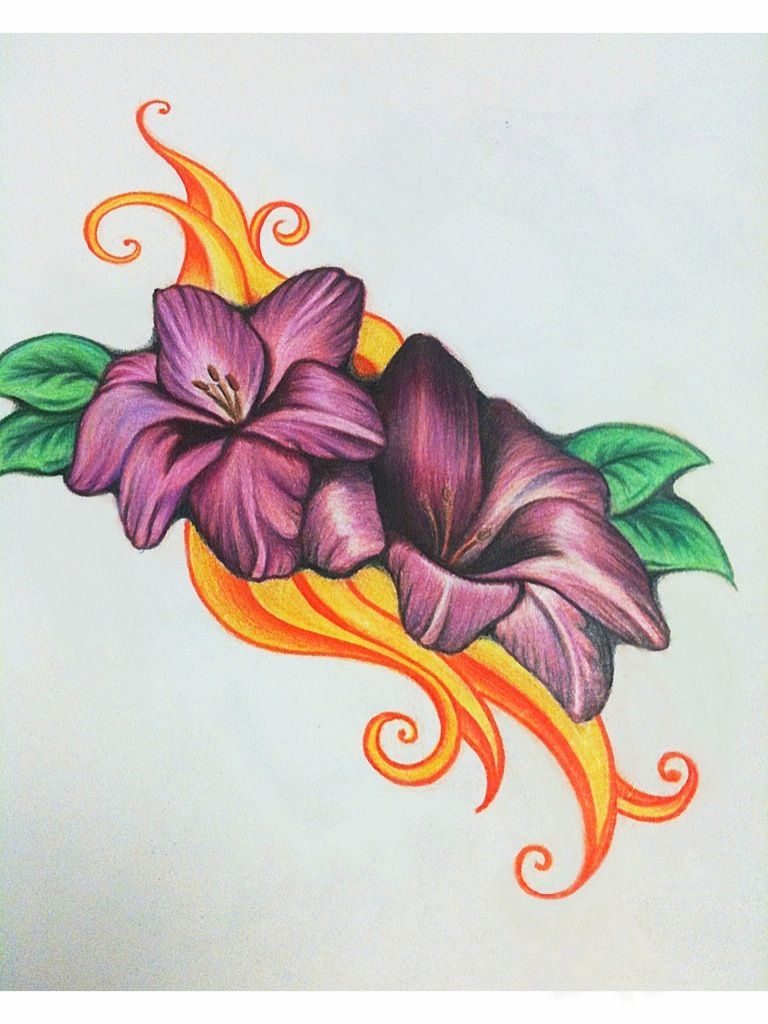 Flower And Flame Drawing Flower Sketches Flower Drawing Pencil Drawings Of Flowers