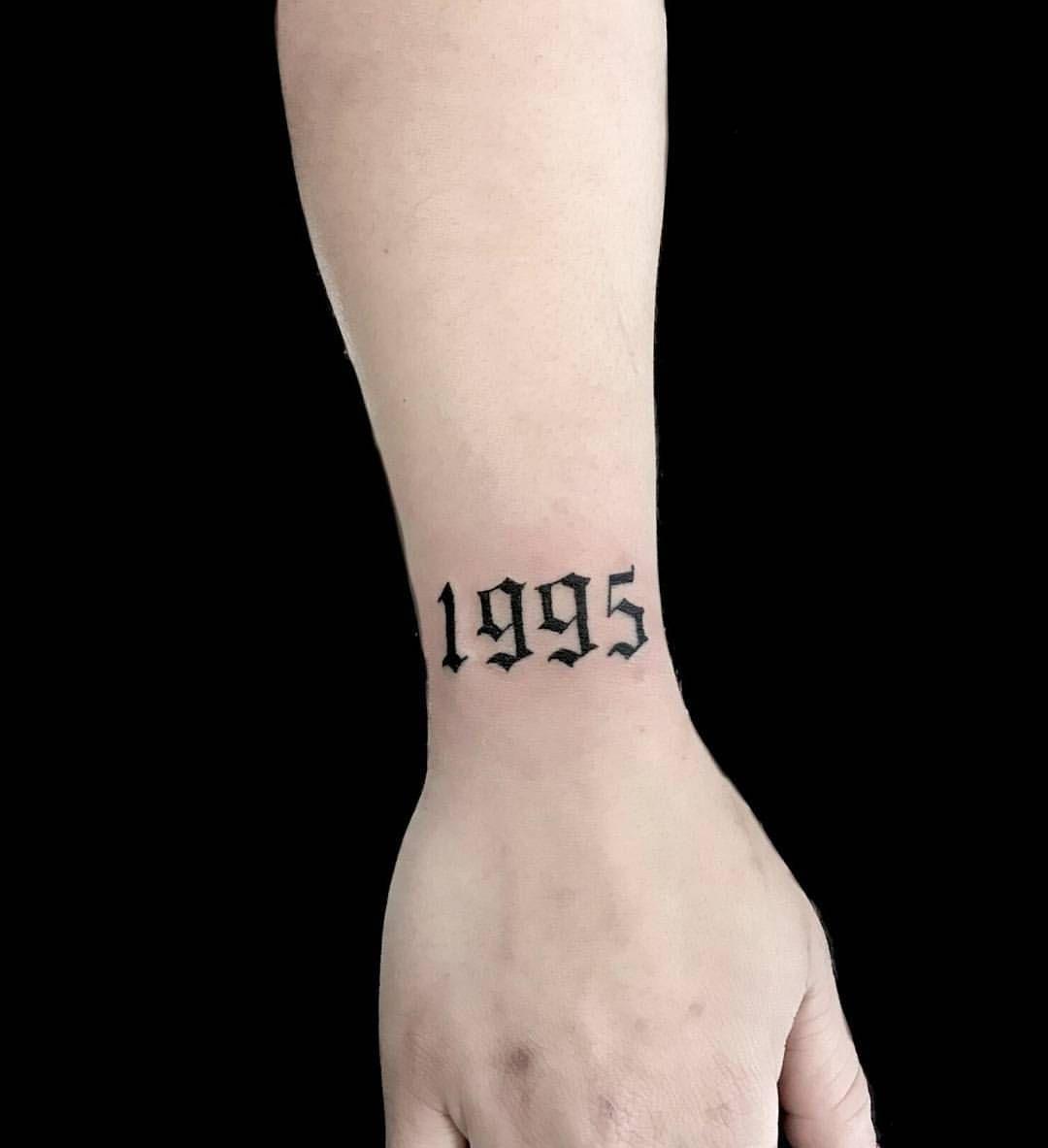 1995 Tattoo Design: #scripttattoos #oldenglish #1995 #blackwork #gangsterfonts