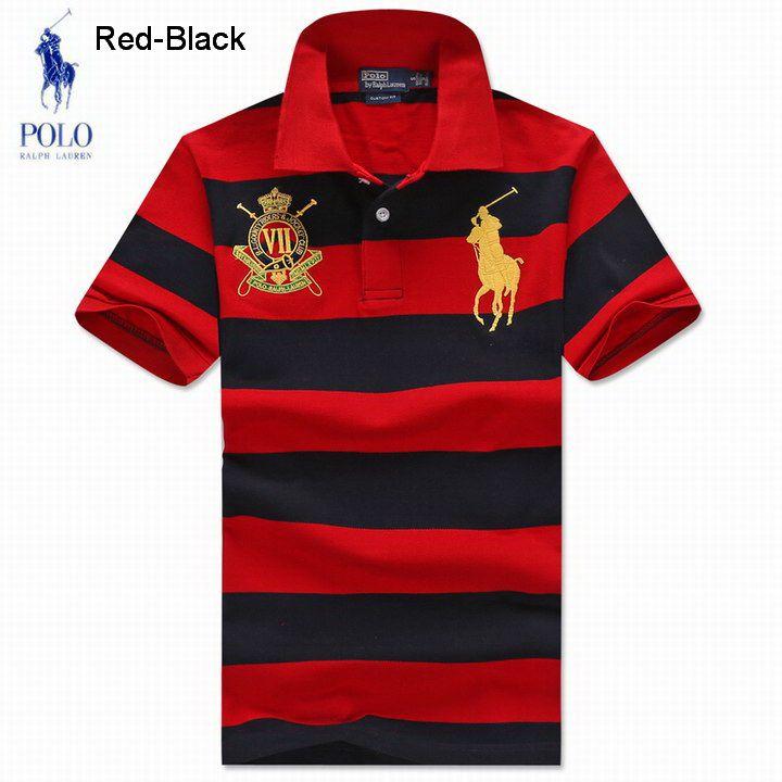 Ralph Lauren Men RL Country Riders Jockey Club Stripe Polo Red Black