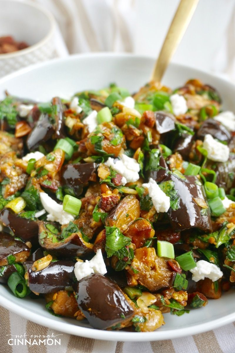 Roasted Eggplant Salad With Smoked Almonds And Goat Cheese Recipe Eggplant Salad Roasted Eggplant Salad Healthy Food Alternatives