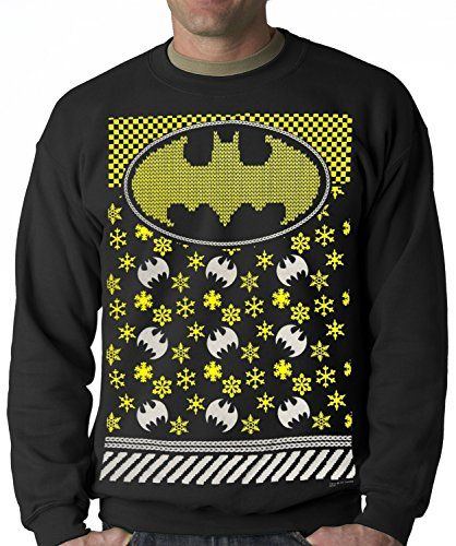 Official Batman Ugly Christmas Sweater Adult Crewneck (Small 7609197cab1
