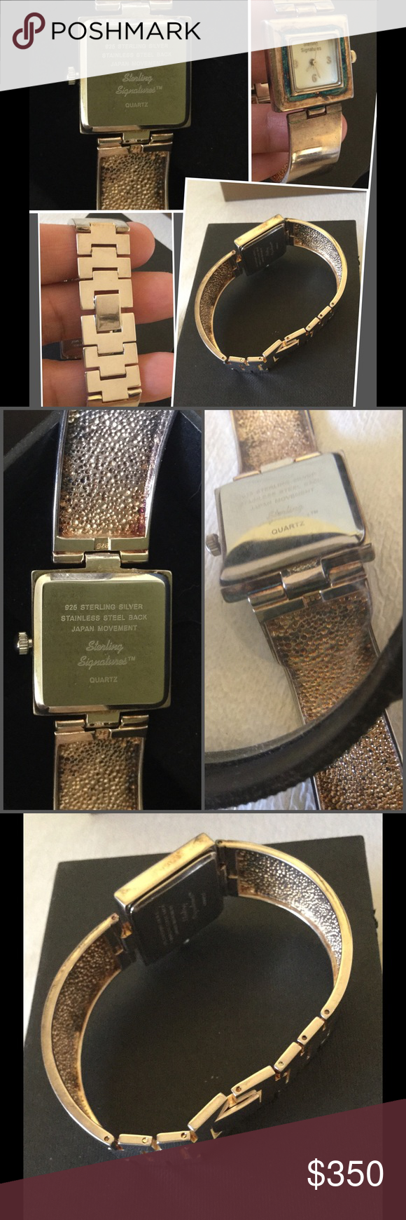 "STERLING Signature Mother of Pearl Watch 🍀Rare🍀 Rare 😍. Fits 7"" wrist. No scratches just needs a little polish. Battery is running. Hallmarked. The bracelet and watch is Solid Sterling Silver 925, only the back is stainless. No trade pls. Make your best offer. Pls NOTE: The blue color is flash reflection from the Mother of Pearl face. Sterling Signature Jewelry"