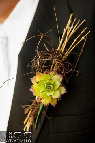 Boutineer / Boutonniere with succulent. Wedding in the Finger Lakes, at Knapp Winery.