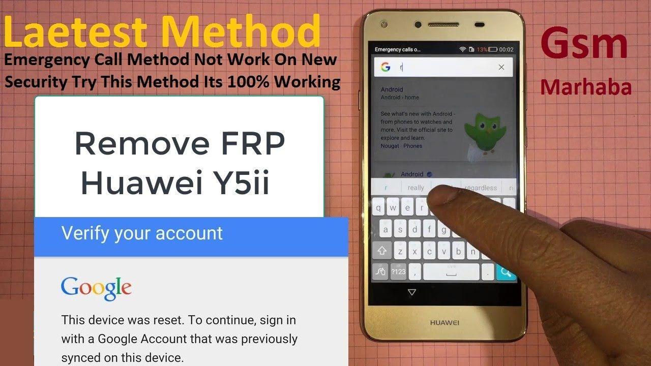 Huawei CUN U29 Y5II FRP Bypass Google Account Error in