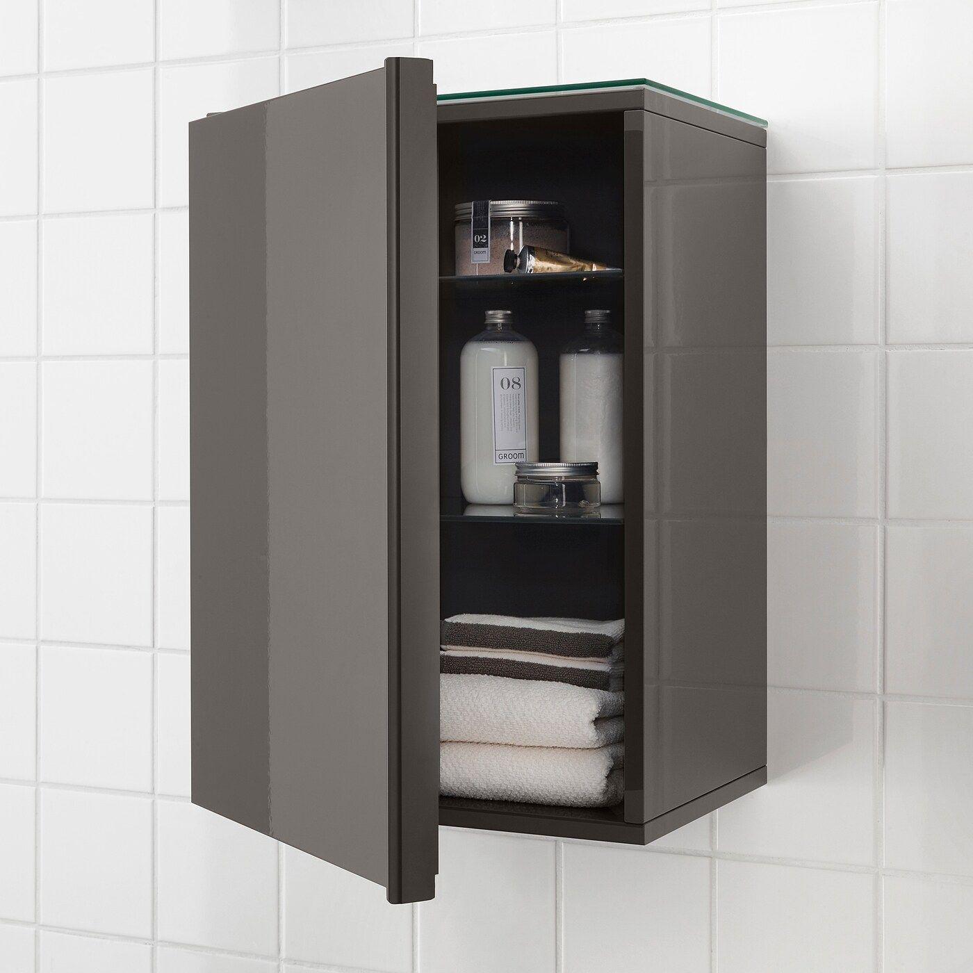 Godmorgon Wandschrank 1 Tur Hochglanz Grau Ikea Osterreich In 2020 Badezimmer Wand Wandschrank Schwarzes Badezimmer