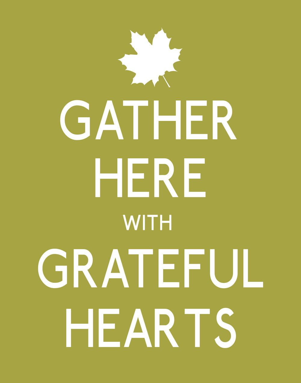 Thanksgiving Poster Print, Gather Here with Grateful Hearts Wall Art ...