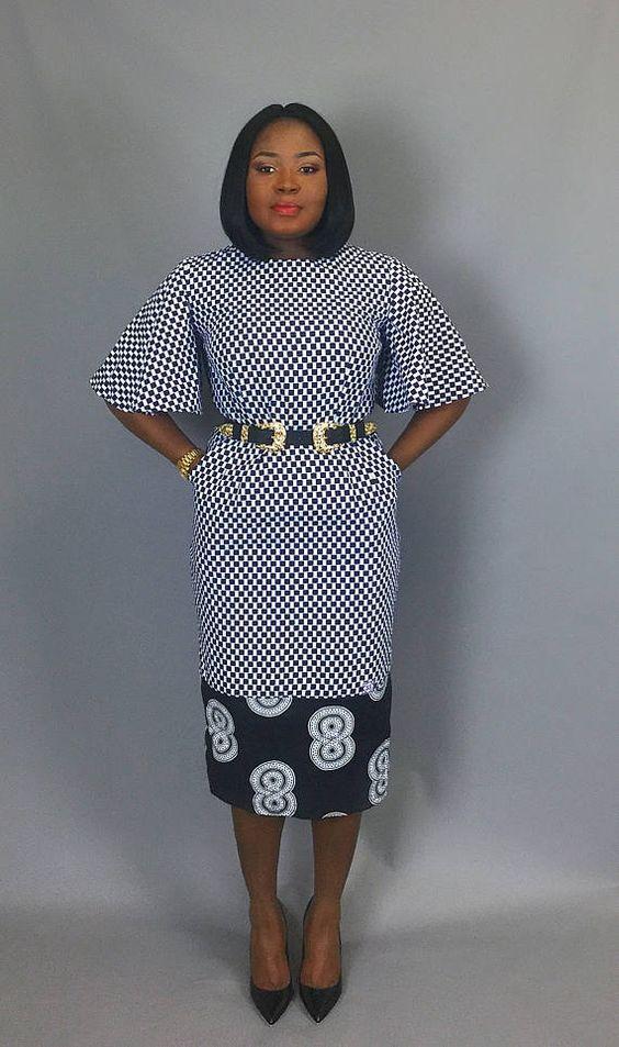 Manche évasée imprimé africain équipé de vêtements robe