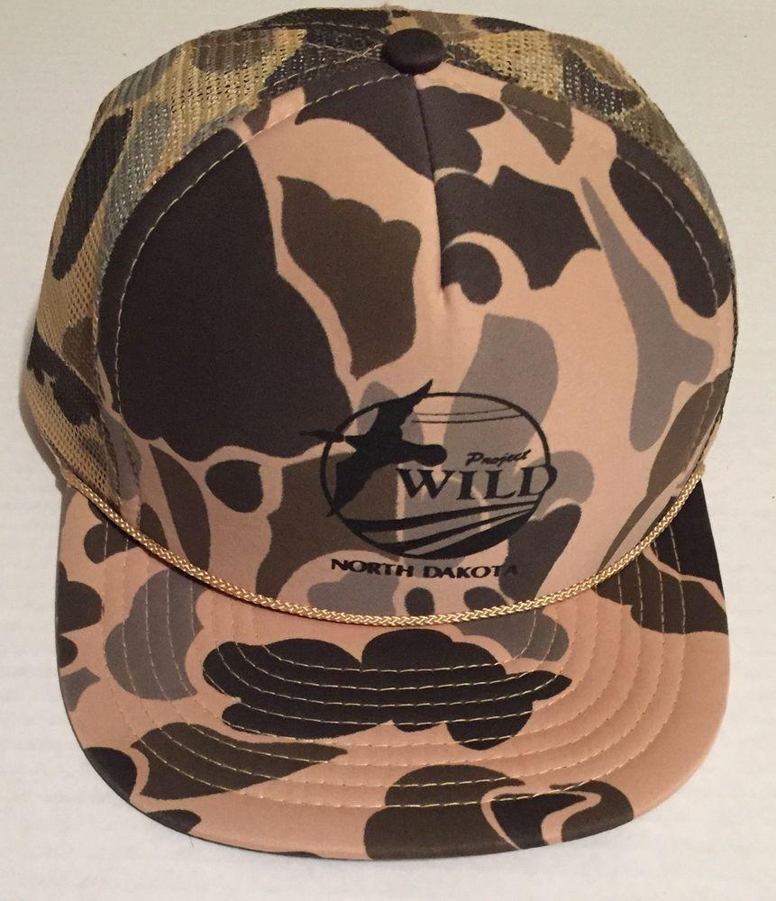 Project Wild North Dakota Camo Snapback Hat with Rope Wildlife Conservation #Nissin #Trucker