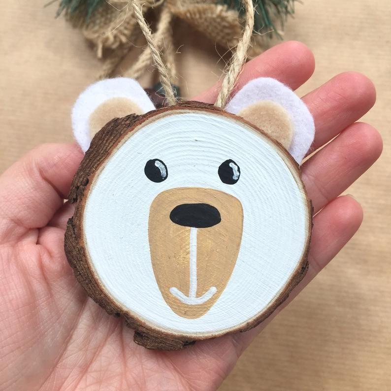 Personalisierte Eisbär Tier Holz Scheibe Kunst. Ei