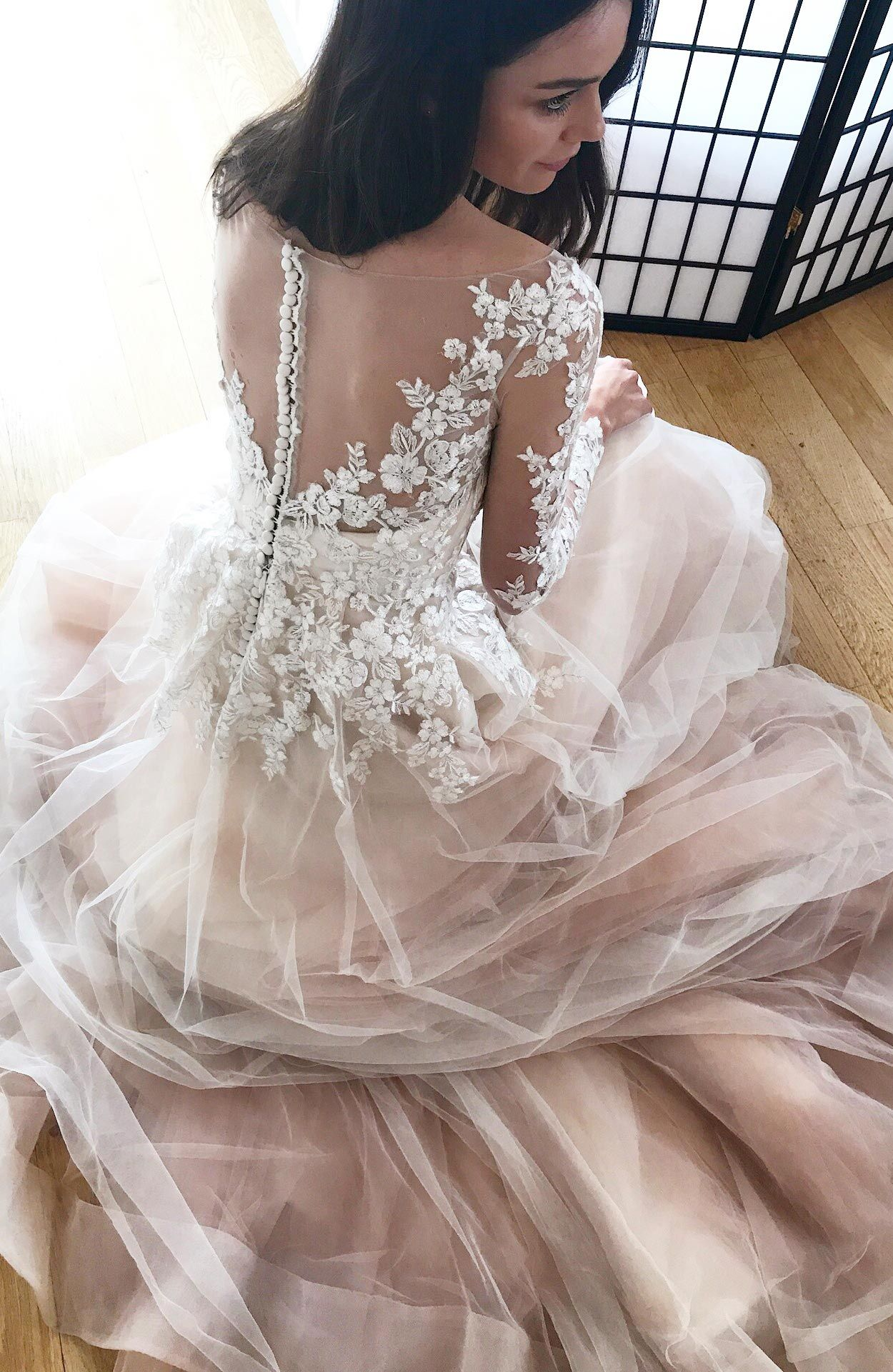 Alba Blush pink wedding dress, Wedding dresses, Lace