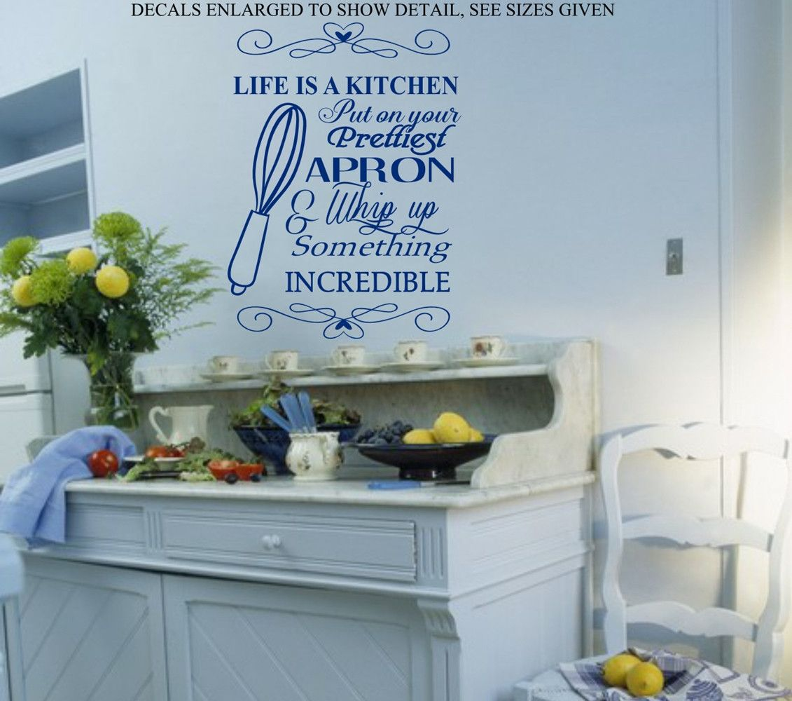 Life is a kitchen quote wall art sticker med vinyl decal