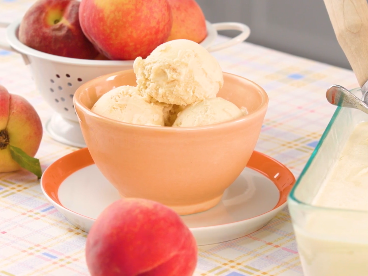 Fresh Peach Ice Cream Recipe Recipe In 2020 Peach Ice Cream Recipe Ice Cream Recipes Cream Recipes