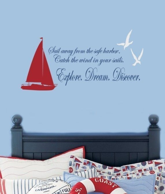 Sailboat And Seagulls Nautical Vinyl Decal Phrase Wall Words Quote