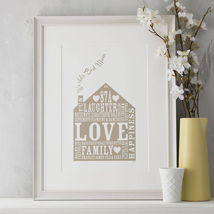 Personalised Home Gift Print For Mum | Walls and House