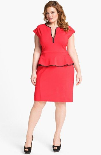 26bb6fde81 ABS by Allen Schwartz Leather Trim Peplum Dress (Plus Size) available at   Nordstrom