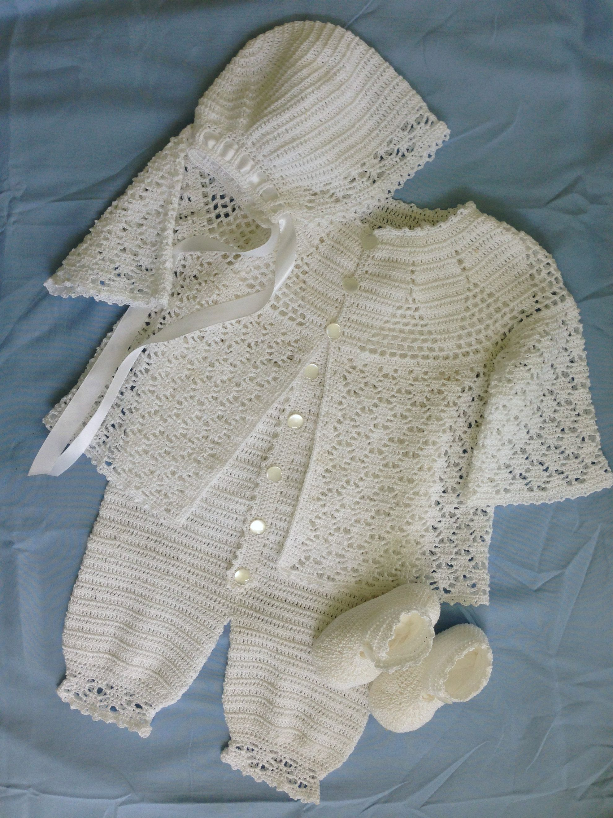 89a7228c0 Baby Boy's Lace Christening Outfit with Jacket, Romper, Cap, and Booties. Fits  4-6 month old. Made with Size 10 crochet cotton.