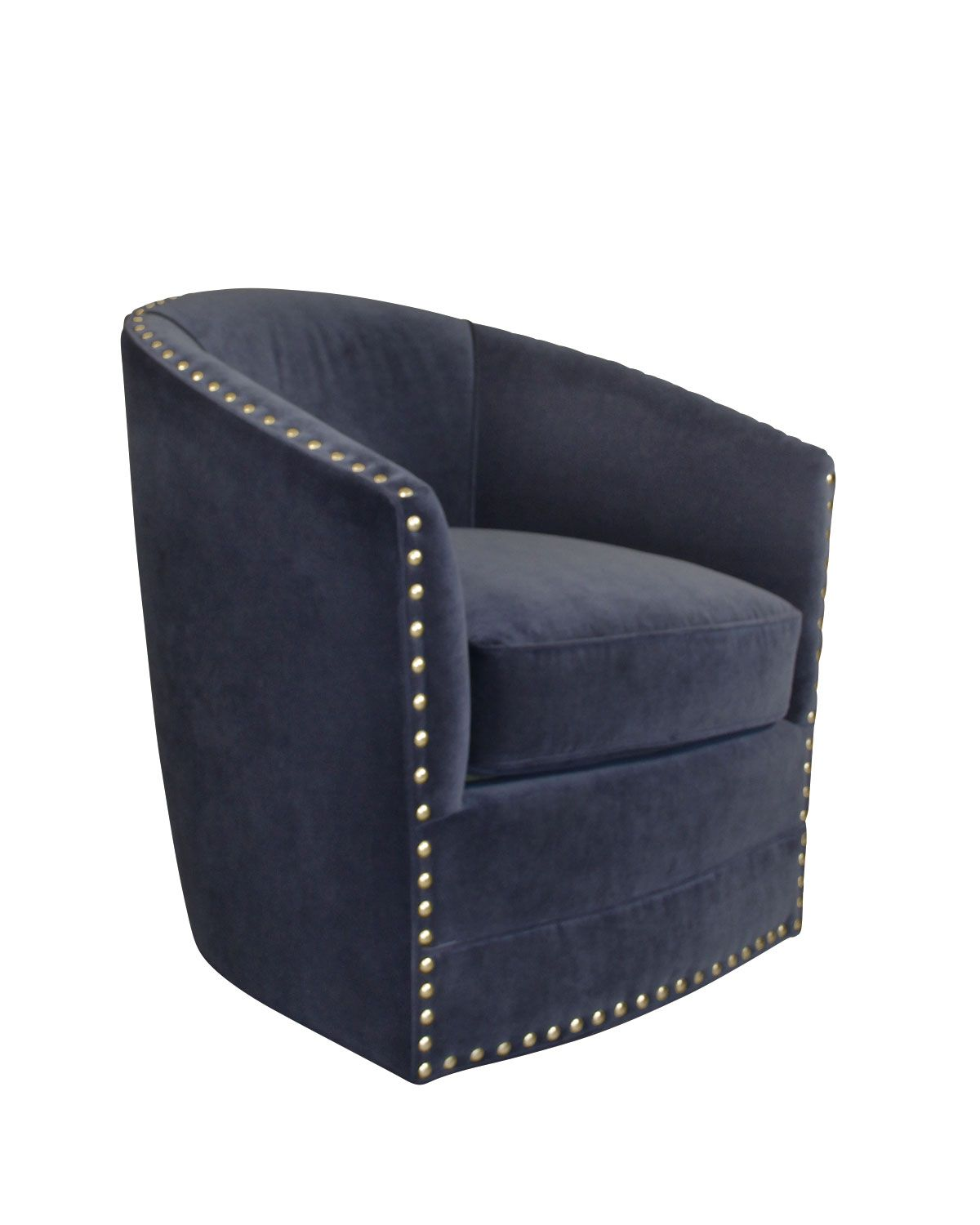 This chair has it allthe freedom of swivel mobility, comfortable seating, and modern good looks. Hardwood frame. Polyester/cotton velvet upholstery. Feather/down cushion. Decorative nailheads outlinin