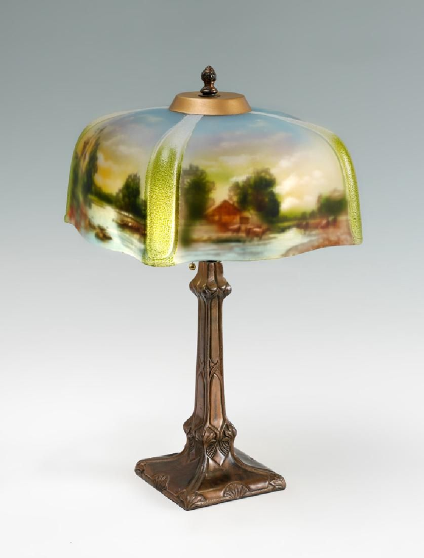 Pittsburgh Lamp Co Reverse Painted Shade Lamp Unsigned Attributed Pittsburgh Lamp Co Patinated Cast Metal Double Socket B With Images Lamp Cool Lighting Antique Lamps