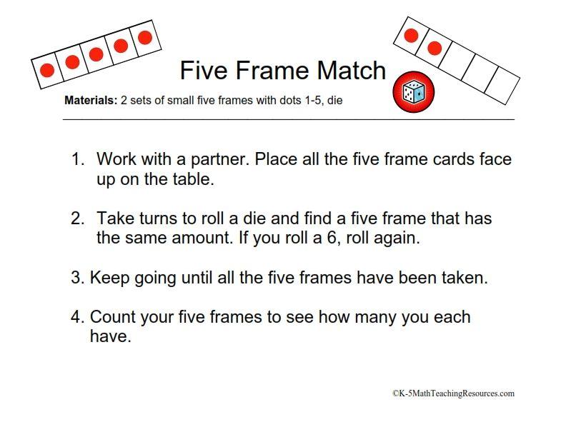 Five Frame Match/FREE Math Centers | Math | Math, Kindergarten math ...
