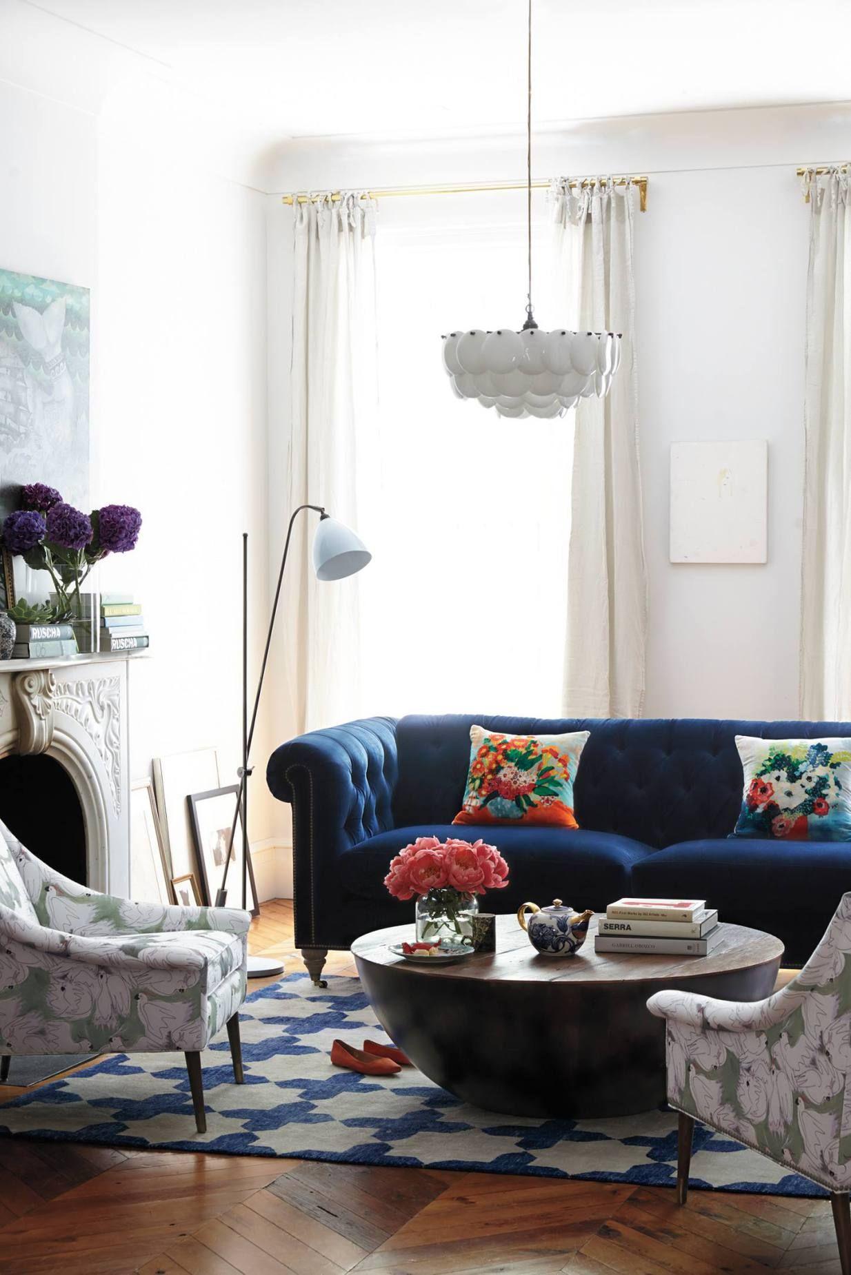 25 Stunning Living Rooms With Blue Velvet Sofas Blue Sofas Living Room Blue Sofa Living Eclectic Living Room