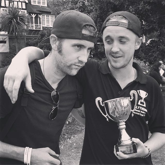 Not Even An Undefeated Captain S Innings From Yours Truly Was Enough We Lost By 4 Wickets And The Trophy Goes Matthew Lewis Tom Felton Tom Felton Draco Malfoy
