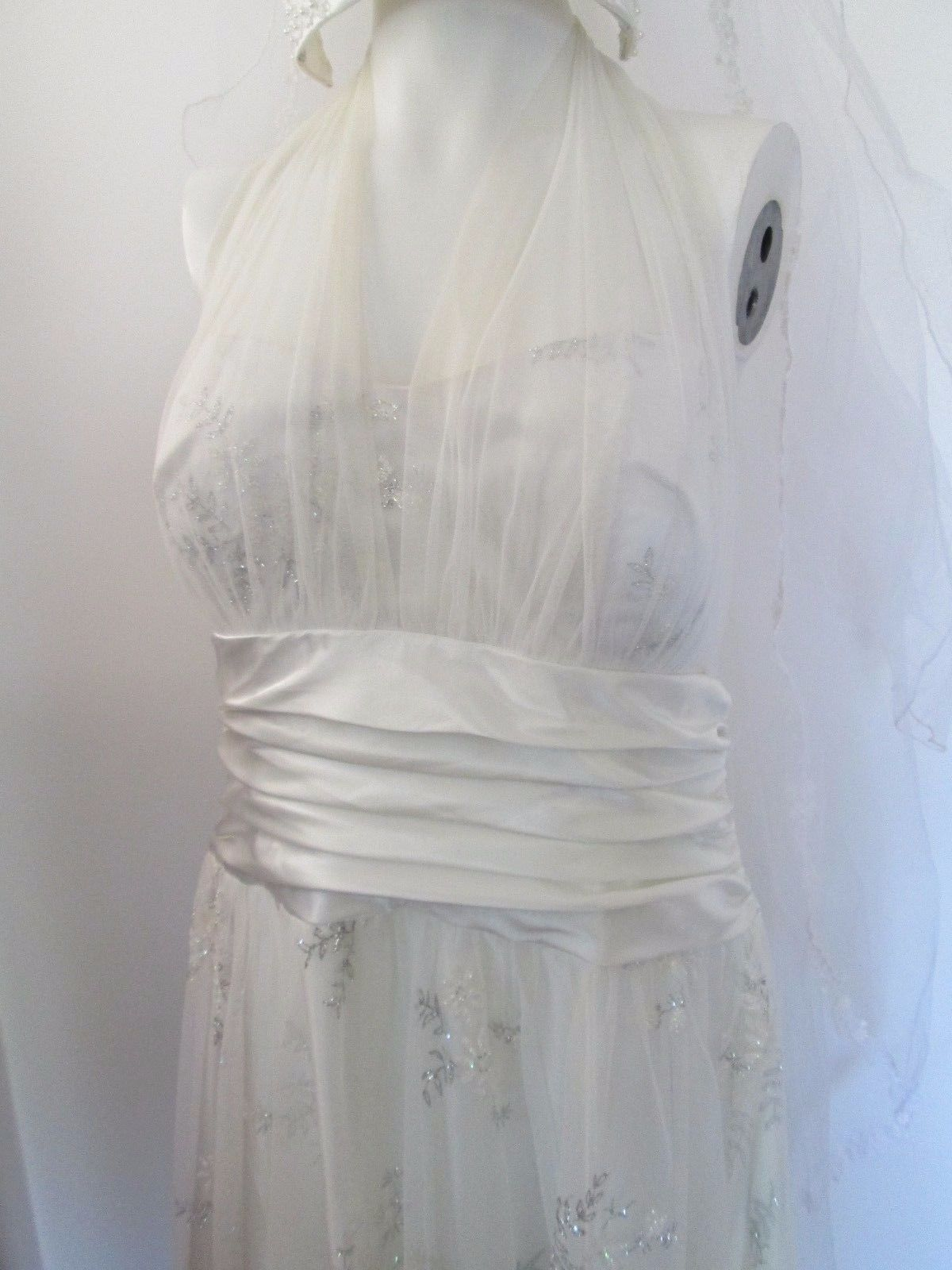 Vintage Blondie Nites Ivory Tulle Wedding Dress Glitter Flowers Veil Size 13 | eBay