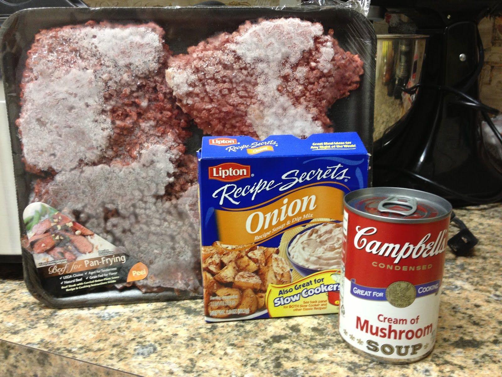 Onion Soup Mix Recipe Ground Beef And Cream Of Mushroom In Crockpot Put The Cube Stea Cube Steak Crock Pot Recipes Cube Steak Recipes Beef Cube Steak Recipes