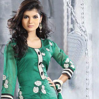 Green and Cream Chanderi silk Kameez with Dupatta Online Shopping: KMU250