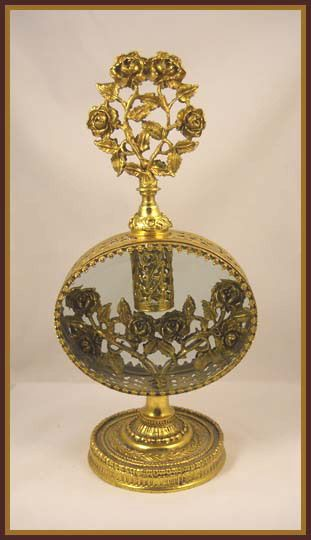 Golden Roses filigree antique perfume bottle