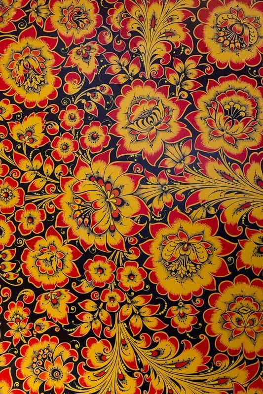 Folk Khokhloma painting from Russia. A floral pattern