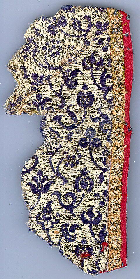 Textile Date: ca. 1500 Culture: Italian Medium: Wool, silk Dimensions: Overall: 6 1/4 x 3 1/8in. (15.9 x 7.9cm)