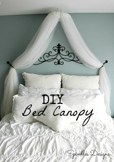 Diy bed canopy using an embroidery hoop and sheer for Easy canopy bed ideas